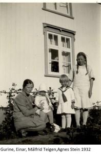 Gurine, Einar, Målfrid Teigen, Agnes Stein 1932x