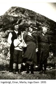 Ingebrigt, Einar, Marta, Inga Osen 1935