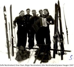 Sofie Nordmeland, Einar Osen, Birger Nordmeland, Kåre Nordmeland, Synøve Haugen 1947